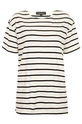 Tall Stripe Tee - pattern: horizontal stripes; length: below the bottom; style: t-shirt; predominant colour: ivory/cream; secondary colour: black; occasions: casual, holiday; fibres: cotton - mix; fit: straight cut; neckline: crew; sleeve length: short sleeve; sleeve style: standard; pattern type: fabric; pattern size: light/subtle; texture group: jersey - stretchy/drapey; season: s/s 2013