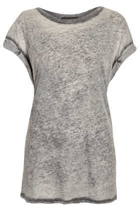 Tall Basic Burnout Tee - neckline: round neck; sleeve style: dolman/batwing; pattern: plain; length: below the bottom; style: t-shirt; predominant colour: light grey; occasions: casual, holiday; fibres: polyester/polyamide - mix; fit: loose; sleeve length: short sleeve; pattern type: fabric; texture group: jersey - stretchy/drapey; season: s/s 2013