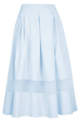 Tall Organza Midi Skirt - length: below the knee; pattern: plain; fit: loose/voluminous; waist: high rise; predominant colour: pale blue; occasions: casual, evening, occasion, holiday; style: a-line; fibres: cotton - stretch; texture group: cotton feel fabrics; season: s/s 2013