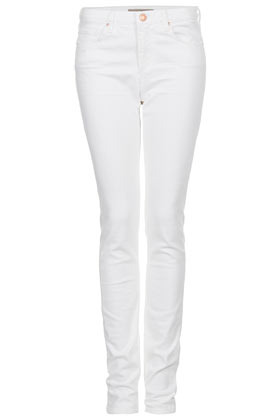 Tall Moto White Baxter Jean - style: skinny leg; length: standard; pattern: plain; pocket detail: traditional 5 pocket; waist: mid/regular rise; predominant colour: white; occasions: casual, evening; fibres: cotton - stretch; texture group: denim; pattern type: fabric; season: s/s 2013