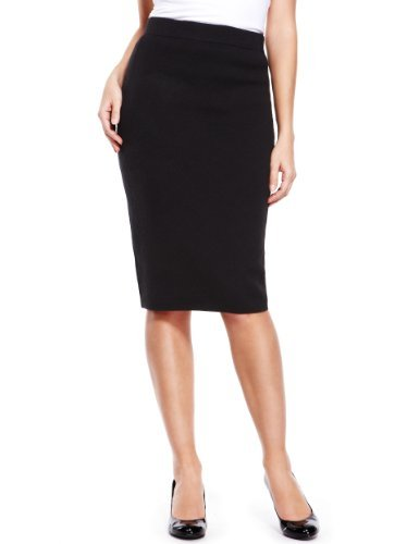 Knee Length Knitted Pencil Skirt - pattern: plain; style: pencil; fit: tailored/fitted; hip detail: fitted at hip; waist: mid/regular rise; predominant colour: black; occasions: casual, work; length: on the knee; fibres: acrylic - 100%; pattern type: fabric; texture group: other - light to midweight; trends: 1940's hitchcock heroines; season: a/w 2013