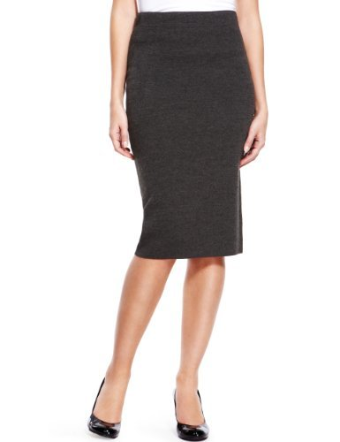 Knee Length Knitted Pencil Skirt - pattern: plain; style: pencil; fit: tailored/fitted; hip detail: draws attention to hips; waist: mid/regular rise; predominant colour: charcoal; occasions: casual, evening, work, occasion; length: on the knee; fibres: acrylic - 100%; pattern type: fabric; texture group: other - light to midweight; season: a/w 2013