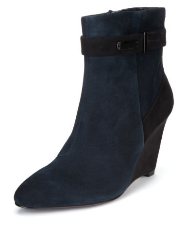 Autograph Suede Wide Fit Water Resistant Strap Wedge Boots With Insolia® & Stretch Zip - predominant colour: navy; secondary colour: black; occasions: casual, creative work; material: suede; heel height: high; heel: wedge; toe: pointed toe; boot length: ankle boot; style: standard; finish: plain; pattern: colourblock; brand specific: wide fit; season: a/w 2013
