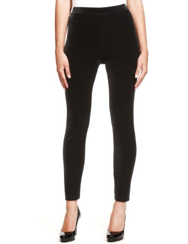 M&S Collection Velour Leggings - pattern: plain; style: leggings; waist: mid/regular rise; predominant colour: black; occasions: casual; length: ankle length; fibres: polyester/polyamide - stretch; texture group: jersey - clingy; fit: skinny/tight leg; pattern type: fabric; season: a/w 2013