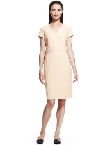 Autograph V Neck Panelled Shift Dress - style: shift; neckline: v-neck; fit: tailored/fitted; pattern: plain; predominant colour: nude; occasions: casual; length: just above the knee; fibres: polyester/polyamide - stretch; sleeve length: short sleeve; sleeve style: standard; texture group: cotton feel fabrics; pattern type: fabric; season: a/w 2013