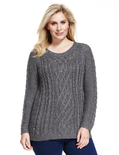 Plus Sequin Embellished Cable Knit Jumper With Wool - neckline: round neck; style: standard; pattern: cable knit; predominant colour: charcoal; occasions: casual; length: standard; fibres: acrylic - mix; fit: standard fit; sleeve length: long sleeve; sleeve style: standard; texture group: knits/crochet; pattern type: knitted - other; pattern size: standard; embellishment: sequins; season: a/w 2013