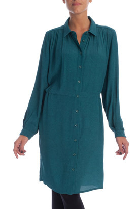 Teal Pleated Shirt Dress - style: shirt; neckline: shirt collar/peter pan/zip with opening; fit: loose; pattern: paisley; predominant colour: teal; occasions: casual, creative work; length: on the knee; fibres: viscose/rayon - 100%; shoulder detail: flat/draping pleats/ruching/gathering at shoulder; sleeve length: long sleeve; sleeve style: standard; texture group: sheer fabrics/chiffon/organza etc.; pattern type: fabric; trends: broody brights; season: s/s 2013
