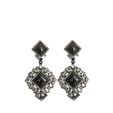 Crystal Kirov Earrings - secondary colour: silver; predominant colour: black; occasions: evening, occasion; style: drop; length: long; size: large/oversized; material: chain/metal; fastening: pierced; finish: metallic; embellishment: crystals/glass; trends: excess embellishment, 1940's hitchcock heroines; season: s/s 2013