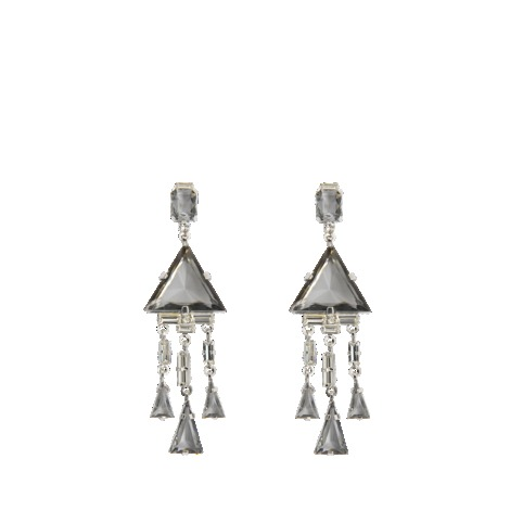 Art Deco Earrings - secondary colour: silver; predominant colour: mid grey; occasions: evening, occasion; style: chandelier; length: long; size: large/oversized; material: chain/metal; fastening: pierced; finish: metallic; embellishment: jewels/stone; season: s/s 2013