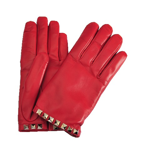 Rockstuds Gloves - predominant colour: true red; secondary colour: gold; occasions: casual, evening, work; type of pattern: standard; embellishment: studs; style: standard; length: wrist; material: leather; pattern: plain; season: s/s 2013