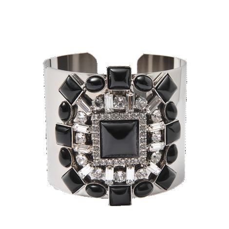 Cuff With Crystal Detail - secondary colour: silver; predominant colour: black; occasions: evening, occasion; style: cuff; size: large/oversized; material: chain/metal; finish: metallic; embellishment: crystals/glass; trends: gorgeous grunge, excess embellishment; season: s/s 2013