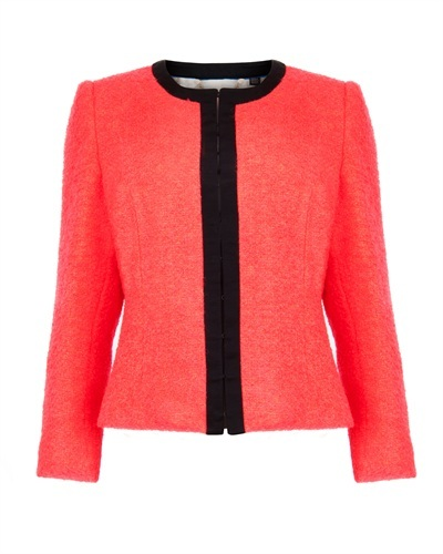 Ted Baker Kerisa Cropped Neon Jacket - style: single breasted blazer; collar: round collar/collarless; predominant colour: true red; secondary colour: black; occasions: casual, work, occasion; length: standard; fit: tailored/fitted; fibres: acrylic - mix; waist detail: peplum detail at waist; sleeve length: long sleeve; sleeve style: standard; collar break: high; pattern type: fabric; pattern size: light/subtle; pattern: colourblock; texture group: tweed - light/midweight; season: s/s 2013; wardrobe: highlight