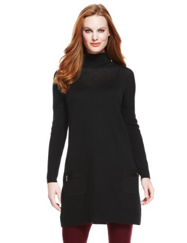 M&S Collection Pure Merino Wool Zip Pockets Tunic - pattern: plain; style: tunic; neckline: roll neck; predominant colour: black; occasions: casual; fibres: wool - 100%; fit: standard fit; length: mid thigh; sleeve length: long sleeve; sleeve style: standard; texture group: knits/crochet; pattern type: knitted - fine stitch; season: a/w 2013