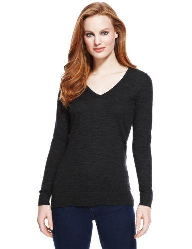 M&S Collection Pure Merino Wool V Neck Jumper - neckline: v-neck; pattern: plain; style: standard; predominant colour: black; occasions: casual; length: standard; fibres: wool - 100%; fit: slim fit; sleeve length: long sleeve; sleeve style: standard; texture group: knits/crochet; pattern type: knitted - fine stitch; season: a/w 2013