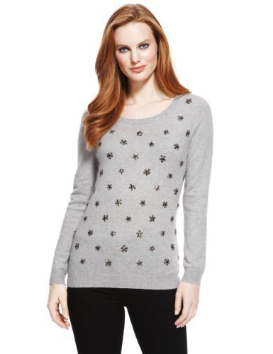 M&S Collection Pure Cashmere Jewel Embellished Jumper - neckline: scoop neck; pattern: plain; style: standard; predominant colour: light grey; occasions: casual; length: standard; fit: slim fit; fibres: cashmere - 100%; sleeve length: long sleeve; sleeve style: standard; texture group: knits/crochet; pattern type: knitted - fine stitch; embellishment: beading; season: a/w 2013; wardrobe: highlight; embellishment location: all over