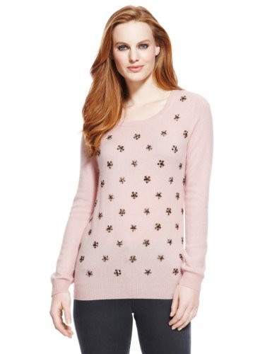 M&S Collection Pure Cashmere Jewel Embellished Jumper - neckline: scoop neck; pattern: plain; style: standard; predominant colour: blush; secondary colour: silver; occasions: casual; length: standard; fit: slim fit; fibres: cashmere - 100%; sleeve length: long sleeve; sleeve style: standard; texture group: knits/crochet; pattern type: knitted - fine stitch; pattern size: standard; embellishment: beading; trends: excess embellishment; season: a/w 2013