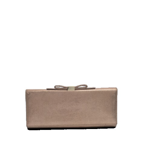 Nora Metallic Clutch - predominant colour: camel; occasions: evening, occasion; type of pattern: standard; style: clutch; length: hand carry; size: standard; material: leather; pattern: plain; finish: metallic; embellishment: bow; season: s/s 2013