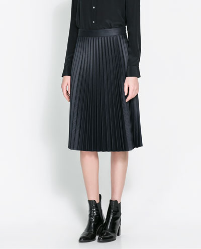 Coated Pleated Skirt - length: below the knee; pattern: plain; fit: body skimming; style: pleated; waist: high rise; predominant colour: black; occasions: casual, evening, work; fibres: polyester/polyamide - stretch; texture group: waxed cotton; pattern type: fabric; trends: gothic romance; season: s/s 2013