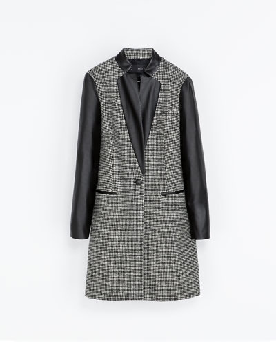 Combined Faux Leather Coat - style: single breasted; collar: standard lapel/rever collar; pattern: herringbone/tweed; length: mid thigh; secondary colour: mid grey; predominant colour: black; occasions: casual, evening, work; fit: straight cut (boxy); fibres: wool - 100%; sleeve length: long sleeve; sleeve style: standard; collar break: medium; pattern type: fabric; pattern size: standard; texture group: woven light midweight; season: s/s 2013