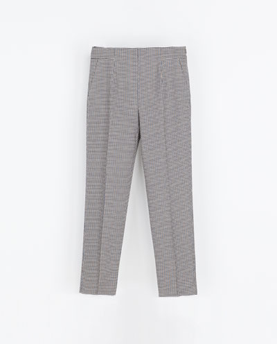 Houndstooth Trousers - style: peg leg; pocket detail: pockets at the sides; waist: mid/regular rise; predominant colour: mid grey; occasions: casual, evening, work; length: ankle length; fibres: cotton - mix; pattern: dogtooth; fit: straight leg; pattern type: fabric; texture group: woven light midweight; trends: masculine feminine; season: s/s 2013; pattern size: standard (bottom)