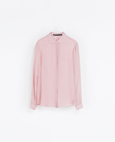 Shirt With Transparent Stripes - neckline: shirt collar/peter pan/zip with opening; pattern: vertical stripes; style: shirt; predominant colour: blush; occasions: casual, evening, work; length: standard; fibres: viscose/rayon - 100%; fit: loose; sleeve length: long sleeve; sleeve style: standard; texture group: sheer fabrics/chiffon/organza etc.; pattern type: fabric; pattern size: light/subtle; season: s/s 2013