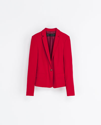 Blazer With Narrow Lapels - pattern: plain; style: single breasted blazer; collar: standard lapel/rever collar; predominant colour: true red; occasions: casual, work; length: standard; fit: tailored/fitted; fibres: polyester/polyamide - stretch; sleeve length: long sleeve; sleeve style: standard; collar break: low/open; pattern type: fabric; texture group: other - light to midweight; season: s/s 2013