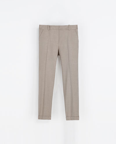 Trousers With Pocket - pattern: plain; style: peg leg; waist: mid/regular rise; predominant colour: stone; occasions: casual, work; length: ankle length; fibres: polyester/polyamide - stretch; jeans & bottoms detail: turn ups; fit: straight leg; pattern type: fabric; texture group: woven light midweight; trends: masculine feminine; season: s/s 2013