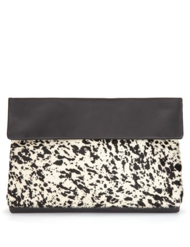 Autograph Leather Slouch Clutch Bag - secondary colour: stone; predominant colour: black; occasions: casual, evening; type of pattern: light; style: clutch; length: hand carry; size: standard; material: leather; pattern: animal print; finish: plain; season: a/w 2013