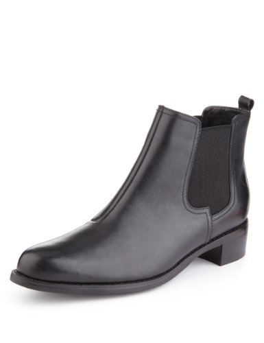 Autograph Leather Chelsea Ankle Boots With Insolia Flex® - predominant colour: black; occasions: casual; material: leather; heel height: flat; heel: standard; toe: round toe; boot length: ankle boot; style: standard; finish: patent; pattern: plain; season: a/w 2013