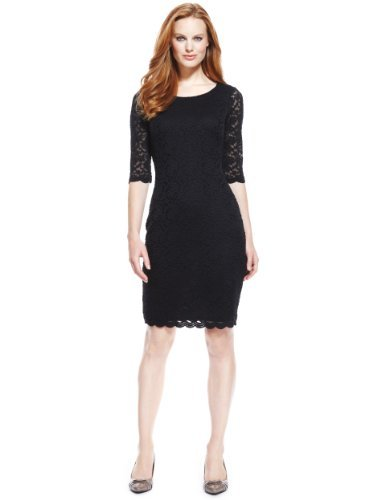 M&S Collection Floral Lace Shift Dress - style: shift; neckline: round neck; predominant colour: navy; occasions: evening; length: just above the knee; fit: body skimming; fibres: polyester/polyamide - stretch; sleeve length: 3/4 length; sleeve style: standard; texture group: lace; pattern type: fabric; pattern size: light/subtle; pattern: patterned/print; season: a/w 2013