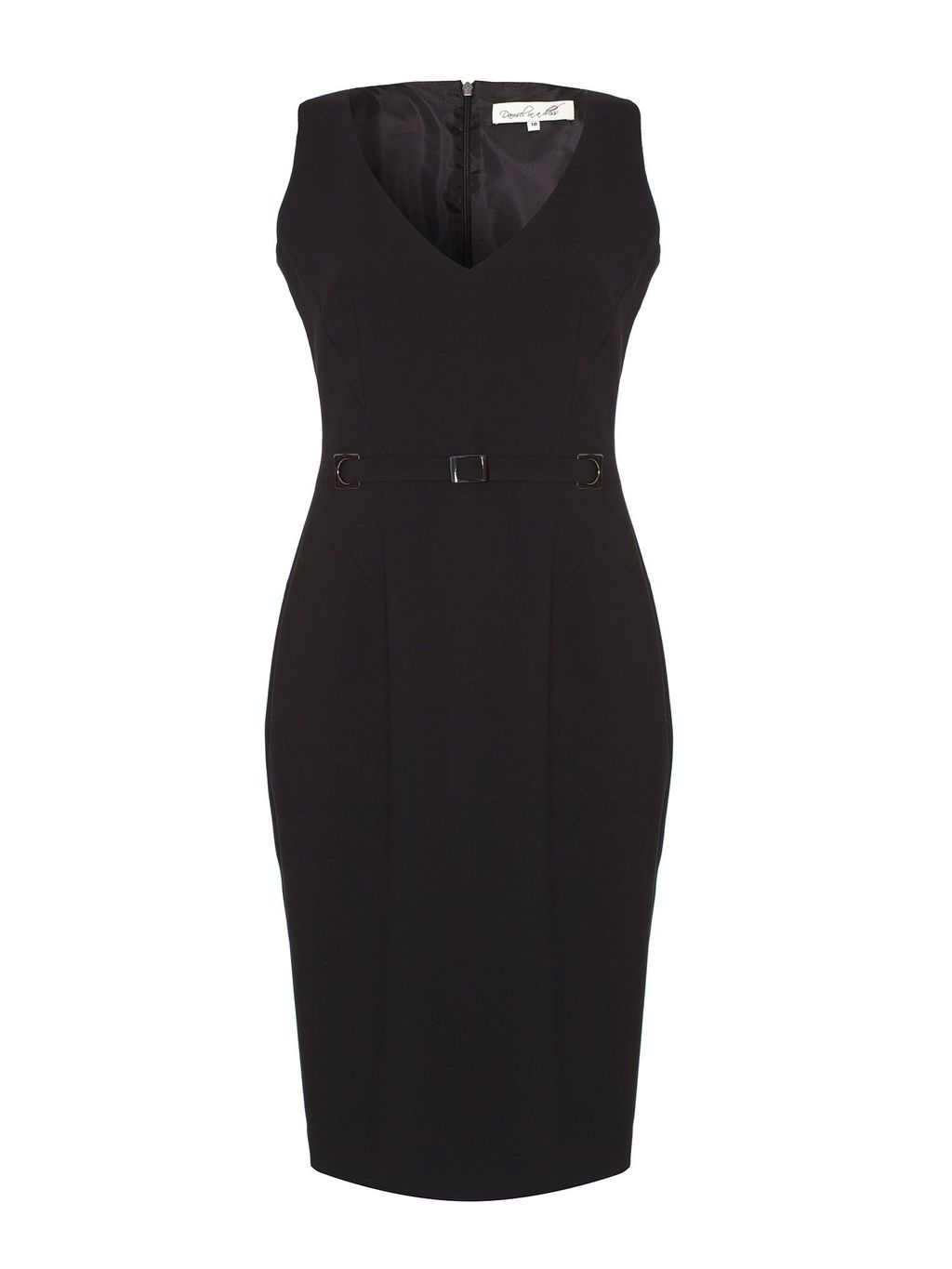 Amber Noir Dress, Black - style: shift; neckline: v-neck; fit: tailored/fitted; pattern: plain; sleeve style: sleeveless; waist detail: belted waist/tie at waist/drawstring; predominant colour: black; occasions: casual, evening, work, occasion; length: just above the knee; fibres: polyester/polyamide - 100%; sleeve length: sleeveless; texture group: woven light midweight; trends: 1940's hitchcock heroines; season: s/s 2013