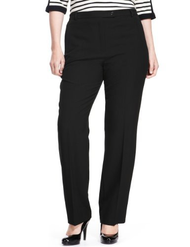 Plus Flat Front Slim Leg Trousers - length: standard; pattern: plain; waist: high rise; predominant colour: black; occasions: casual, work; fibres: polyester/polyamide - stretch; fit: slim leg; pattern type: fabric; texture group: other - light to midweight; style: standard; season: a/w 2013; pattern size: standard (bottom)