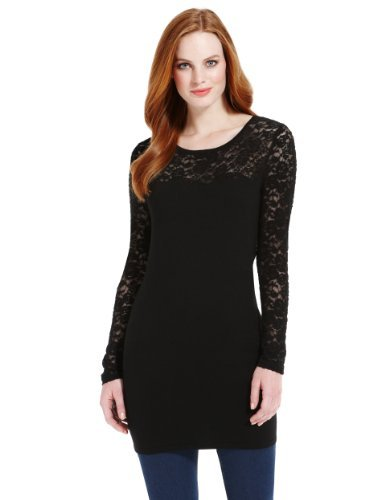 M&S Collection Scallop Floral Lace Knitted Tunic - neckline: round neck; pattern: plain; length: below the bottom; style: tunic; predominant colour: black; occasions: casual; fit: slim fit; sleeve length: long sleeve; sleeve style: standard; texture group: knits/crochet; pattern type: knitted - fine stitch; fibres: viscose/rayon - mix; embellishment: lace; season: a/w 2013; wardrobe: highlight; embellishment location: shoulder, sleeve/cuff