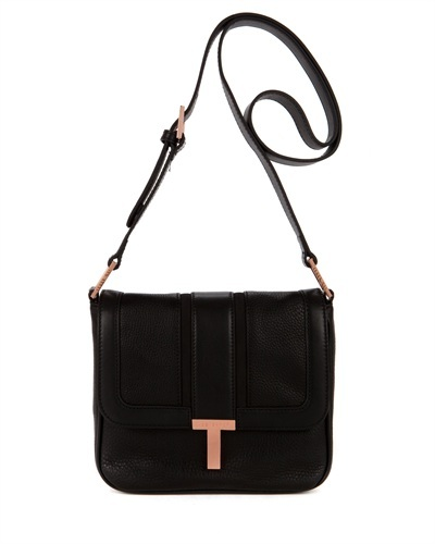 Ted Baker Amorosa T Keeper Sling Bag - secondary colour: bronze; predominant colour: black; occasions: casual, creative work; type of pattern: standard; style: shoulder; length: across body/long; size: small; material: leather; pattern: plain; finish: plain; embellishment: chain/metal; trends: masculine feminine; season: s/s 2013