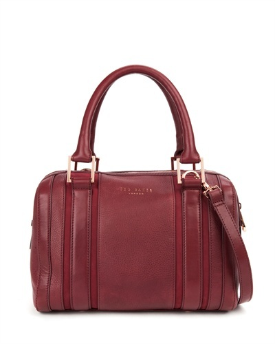 Ted Baker Kamilio T Keeper Mini Bowler Bag - predominant colour: burgundy; secondary colour: gold; occasions: casual, work, creative work; type of pattern: standard; style: bowling; length: handle; size: standard; material: leather; pattern: plain; finish: plain; trends: broody brights; season: s/s 2013