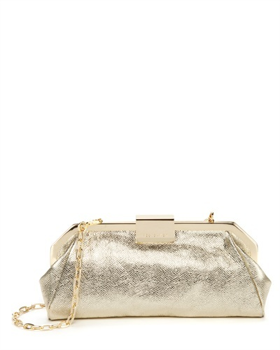Ted Baker Norra Leather Frame Clutch - predominant colour: silver; secondary colour: gold; occasions: evening, occasion; type of pattern: standard; style: clutch; length: hand carry; size: small; material: leather; pattern: plain; finish: metallic; season: s/s 2013