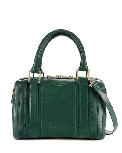 Ted Baker Kamilio T Keeper Mini Bowler Bag - predominant colour: dark green; secondary colour: gold; occasions: casual, work, creative work; type of pattern: standard; style: bowling; length: handle; size: standard; material: leather; pattern: plain; finish: plain; trends: broody brights; season: s/s 2013