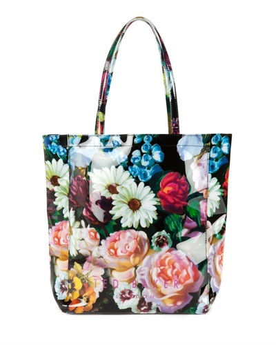 Ted Baker Oicon Oil Painting Print Shopper - occasions: casual; predominant colour: multicoloured; type of pattern: large; style: tote; length: handle; size: oversized; pattern: florals; finish: patent; trends: playful prints; material: pvc; season: s/s 2013; multicoloured: multicoloured