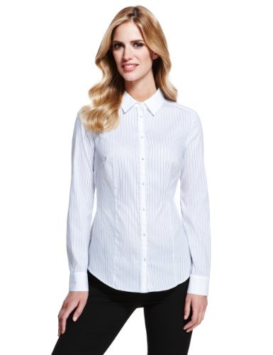 M&S Collection No Peep™ Quick Iron Striped Shirt - neckline: shirt collar/peter pan/zip with opening; style: shirt; pattern: pinstripe; predominant colour: white; secondary colour: pink; occasions: casual, work; length: standard; fibres: cotton - stretch; fit: tailored/fitted; sleeve length: long sleeve; sleeve style: standard; texture group: cotton feel fabrics; pattern type: fabric; pattern size: light/subtle; season: a/w 2013