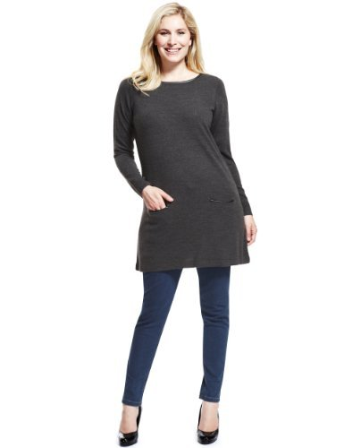 Plus Faux Leather Trim Knitted Tunic - neckline: round neck; pattern: plain; style: tunic; hip detail: front pockets at hip; predominant colour: charcoal; occasions: casual; fibres: acrylic - 100%; fit: standard fit; length: mid thigh; sleeve length: long sleeve; sleeve style: standard; texture group: knits/crochet; pattern type: knitted - fine stitch; season: a/w 2013