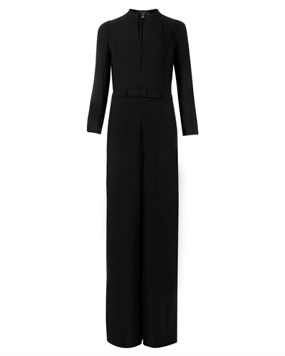 Ted Baker Princel Flare Long Sleeve Jumpsuit - length: standard; neckline: v-neck; fit: tailored/fitted; pattern: plain; waist detail: belted waist/tie at waist/drawstring; predominant colour: black; occasions: evening, occasion, creative work; fibres: polyester/polyamide - 100%; sleeve length: 3/4 length; sleeve style: standard; texture group: crepes; style: jumpsuit; pattern type: fabric; trends: gothic romance; season: s/s 2013