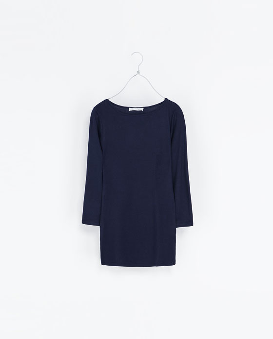 Organic Cotton T Shirt - neckline: round neck; pattern: plain; length: below the bottom; style: t-shirt; predominant colour: navy; occasions: casual, work; fibres: cotton - 100%; fit: body skimming; sleeve length: 3/4 length; sleeve style: standard; texture group: jersey - clingy; pattern type: fabric; trends: broody brights; season: s/s 2013