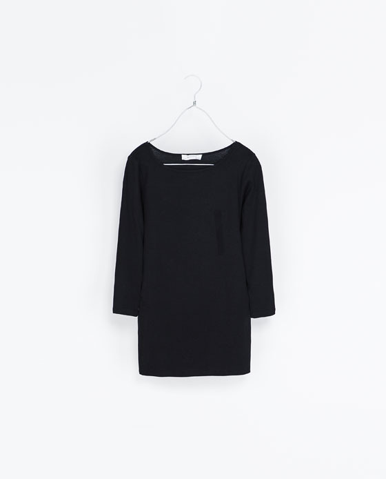 Organic Cotton T Shirt - neckline: slash/boat neckline; pattern: plain; style: t-shirt; predominant colour: black; occasions: casual; length: standard; fibres: cotton - 100%; fit: body skimming; sleeve length: 3/4 length; sleeve style: standard; texture group: cotton feel fabrics; pattern type: fabric; season: s/s 2013