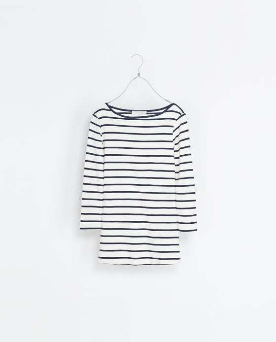 Organic Cotton T Shirt - neckline: slash/boat neckline; pattern: horizontal stripes; style: t-shirt; predominant colour: white; secondary colour: navy; occasions: casual; length: standard; fibres: cotton - stretch; fit: body skimming; sleeve length: 3/4 length; sleeve style: standard; pattern type: fabric; pattern size: standard; texture group: jersey - stretchy/drapey; season: s/s 2013