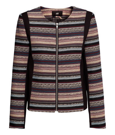 Jacquard Weave Jacket - pattern: horizontal stripes; style: biker; collar: round collar/collarless; occasions: casual, evening; length: standard; fit: straight cut (boxy); fibres: polyester/polyamide - mix; predominant colour: multicoloured; sleeve length: long sleeve; sleeve style: standard; collar break: high/illusion of break when open; pattern type: fabric; pattern size: standard; texture group: brocade/jacquard; season: s/s 2013; multicoloured: multicoloured