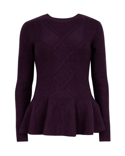 Ted Baker Ohavia Peplum Detail Sweater - style: standard; pattern: cable knit; predominant colour: aubergine; occasions: casual, work, creative work; length: standard; fibres: cotton - stretch; fit: standard fit; neckline: crew; waist detail: peplum detail at waist; sleeve length: long sleeve; sleeve style: standard; texture group: knits/crochet; pattern type: knitted - other; pattern size: standard; trends: broody brights; season: s/s 2013