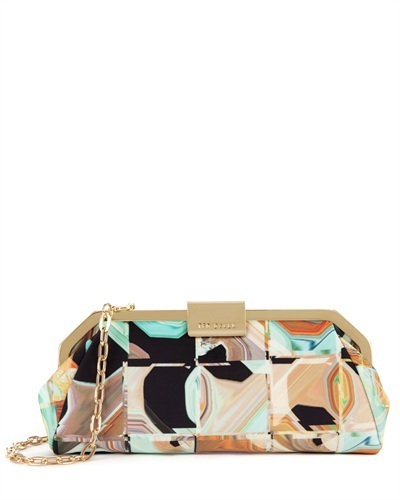 Ted Baker Remee Retro Square Clutch - secondary colour: stone; predominant colour: gold; occasions: evening, occasion, creative work; type of pattern: standard; style: clutch; length: handle; size: small; material: fabric; finish: metallic; pattern: patterned/print; trends: playful prints; season: s/s 2013
