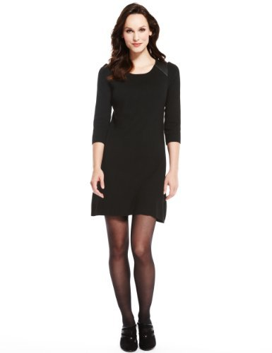 M&S Collection Faux Leather Panelled Knitted Yoke Dress - style: jumper dress; pattern: plain; shoulder detail: contrast pattern/fabric at shoulder; predominant colour: black; occasions: casual, evening, work; length: just above the knee; fit: body skimming; neckline: scoop; sleeve length: 3/4 length; sleeve style: standard; texture group: knits/crochet; pattern type: knitted - fine stitch; fibres: viscose/rayon - mix; season: a/w 2013