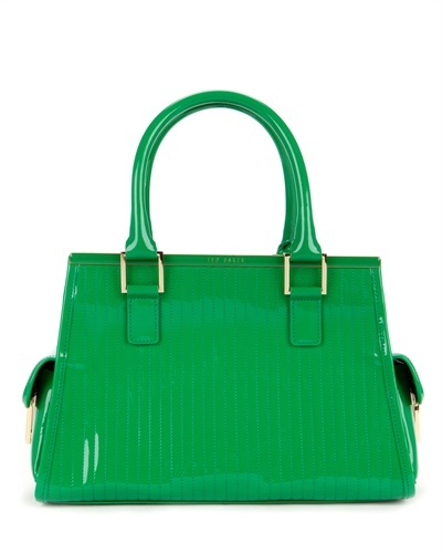 Ted Baker Jaide Large Quilted Tote Bag - predominant colour: emerald green; secondary colour: gold; occasions: casual, work, creative work; type of pattern: standard; style: tote; length: handle; size: standard; pattern: plain; finish: patent; material: pvc; season: s/s 2013