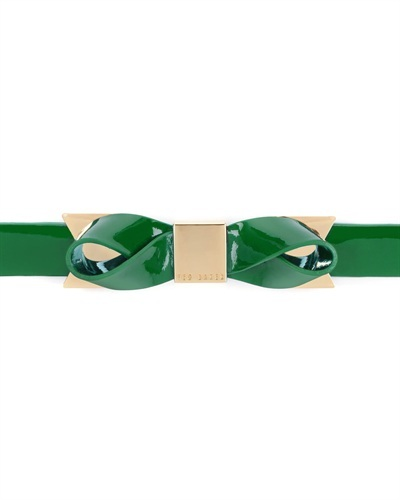 Ted Baker Bowett Bow Belt - predominant colour: emerald green; secondary colour: gold; occasions: casual, evening, work, creative work; style: classic; size: skinny; worn on: waist; material: leather; pattern: plain; finish: patent; embellishment: bow; season: s/s 2013